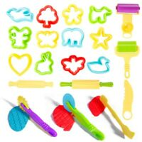 20pcs Kids Play Doh Dough Tools Set Clay Molds Rolling Pins Cutters Mould Craft