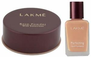 Rose Face Powder, Warm Pink, 40g and Liquid Foundation, Marble, 27ml From Lakme