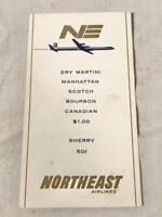 VINTAGE 1960 NORTHEAST AIRLINES COCKTAIL / DRINK MENU