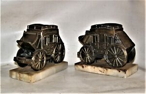"""Brass Western style Coach Bookends Marble Base  5""""tall 7""""wide Very Heavy"""