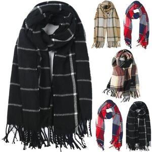 Luxury Warm Winter Women Long Check Tartan Scarf Large Shawl Tassels Stole Wrap