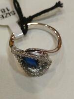 BYBLOS Ring Fantasie mit Zirkon Blau, Silber 925, Neu (9702) Mis. 18
