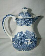 VTG blue transferware Wedgwood WOODLAND Mini individual coffee pot Unicorn Engl