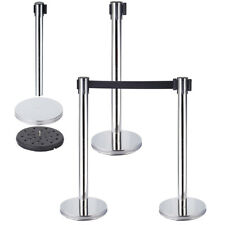 More details for 2pcs retractable crowd queue control safety barrier posts stainless