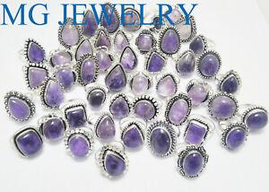 Bulk Sale ! Wholesale Lot 15 Pcs Amethyst Ring 925 Sterling Silver Plated Lot