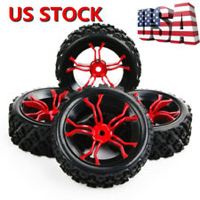 US Rubber Rally Tires&Wheel 12mm Hex For HSP HPI RC 1:10 Off Road Racing Car Set