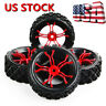 4Pcs Rally Tyre Tires Wheel Rims 12mm Hex For HSP HPI 1:10 Off Road RC Model Car