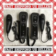 2X Black Official Nintendo Wii Motion Plus Remote Controllers & Nunchucks Lot