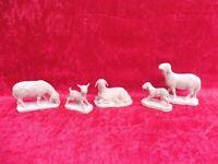 5 Bella Figure Presepe Natale, Legno Intagliato, Pecore E Agnelli, di