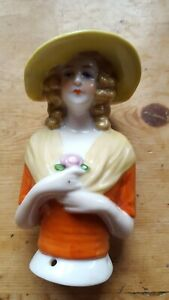 Pretty  vintage German pin cushion half doll lady with yellow hat larger size