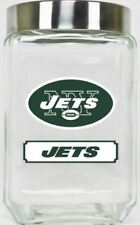 New York Jets Canister NFL Glass Cookie Jar with Lid Large