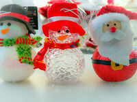 3 x 10cm Colour Changing Light up LED Santa Snowman Christmas Decoration Xmas
