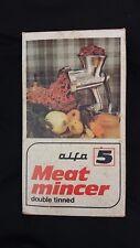 ALFA 5 Meat Mincer Grinder Sausage Maker In original box