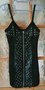 """TOPSHOP Studded Black Faux Leather Dress Biker Goth Casual Size: 6 Chest 30/ 32"""""""