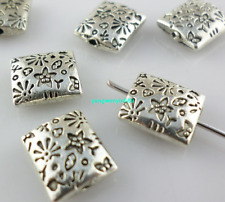 24pcs Tibetan silver rectangle flower Loose Spacer Beads 9*10mm