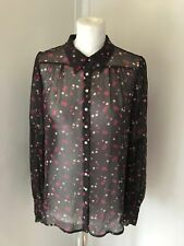 NOUGAT London Brown And Pink Spotted Silk Sheer Blouse Size 2 UK 10/12