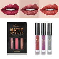 3PCS Long Lasting Waterproof Makeup Matte Liquid Lipstick Sexy Lip Gloss Kit