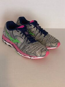 Women's Mizuno Wave Paradox Running Shoes Pink/Purple/Green Sz 9.5