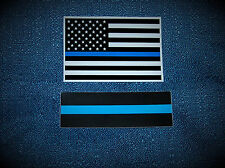 Thin Blue Line Subdued U.S.Flag Sticker - Free 2nd BONUS decal & SHIPS FREE! FOP