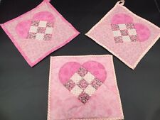 Set of 3 10x10 Handmade Quilted Heart Squares Perfect for Valentine's Day