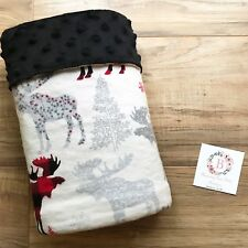Buffalo Plaid Moose Minky Baby Blanket