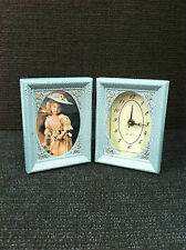 Set of 2 Picture Frame With Clock Antique Style for Photo 3 X 5 Inch Foldable