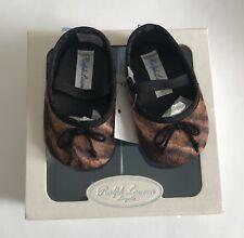 Baby RALPH LAUREN Allie Slip On Shoes Ocelot Animal Horse Logo NEW NIB 1 TWINS