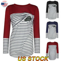 Women Round Collar Pregnant Maternity Nursing Tops Loose T-Shirt Striped Blouse