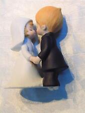 Vtg Lefton China Bride Groom Wedding Cake Topper Ceramic Figurine Blonde Kissing