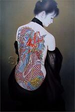 VINTAGE TATTOO PRINT Asian Girl Tattooed Back Dragon Flowers CANVAS ART PRINT
