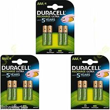 12 x AAA Duracell  Rechargeable 850 mAh  Batteries 850mAh Ultra pre Charged