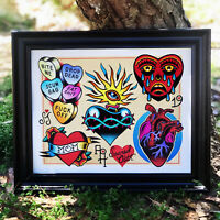 Hearts! Tattoo Flash Art Print | Neo-Traditional / Sailor Jerry