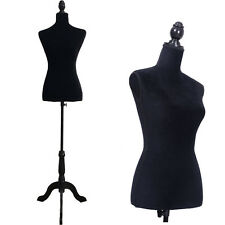 New 36 Black Female Mannequin Torso Dress Clothing Display W/ Black Tripod Stand
