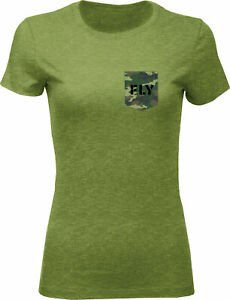 Fly Racing Women's Fly Camo Tee Military Green Heather Md 356-0485M