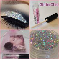 Fine Holographic Silver Glitter Eyes, Eyeshadow Large 10g pot Fix Gel Applicator