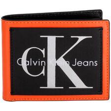 Calvin Klein Jeans Men's Medium Black/Orange Leather Bifold Wallets 2979810-ORA