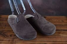BJORNDAL WOMENS BROWN SUEDE MULES CLOGS FLATS COMFORT 8.5B (D)