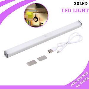 Motion Sensor PIR Night 20 LED Light USB Rechargeable Magnetic Wall Closet Lamp