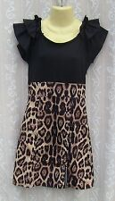 Ladies Club L Black & Leopard Print Mini Dress Size S/M VGC
