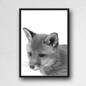 fox print PICTURE WALL ART A4 unframed animal nursery black and white