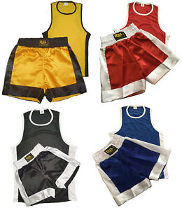 Kids Boxing Shorts & Top 2 Piece Thai Kick MMA Set High Quality Satin Fabric