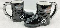 Harley Davidson Black Biker Boot Coffee Mugs VTG 1998 NEW! Lot of 2