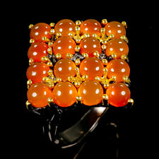 Unique Natural Carnelian 925 Sterling Silver Ring Size 7.25/R98845