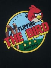 Flipping Angry Birds SHIRT Slingshot BLACK Big Red LARGE George Rovio Pigs NWT