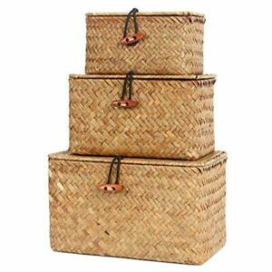 FEILANDUO Shelf Baskets with Lids Set of 3 Handwoven Small Boxes Seagrass