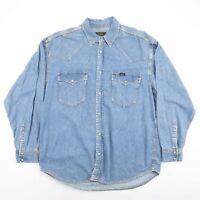 Vintage LEE Blue Plain Casual Denim Shirt Men's Size Large