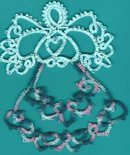 Tatting Tatted Angel handdyed aqua /varigated pink blue and dark size 10 thread