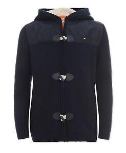 Tommy Hilfiger Boys Swim Navy Mixed Media Full Zip Hooded Sweater