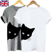 Womens Short Sleeve Scoop Neck Cat Print Casual Loose Tops Blouse T-shirt Tee UK