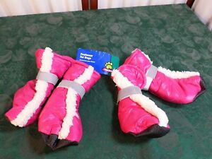 NWT-Top Paw Reflective Pink w/Sherpa Booties-Footwear For Dogs-Size Large